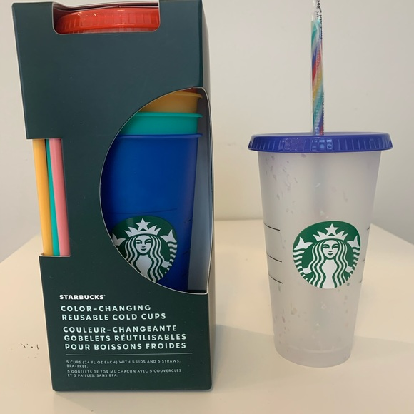 Starbucks Color Changing Cups (5) & 1 Confetti cup